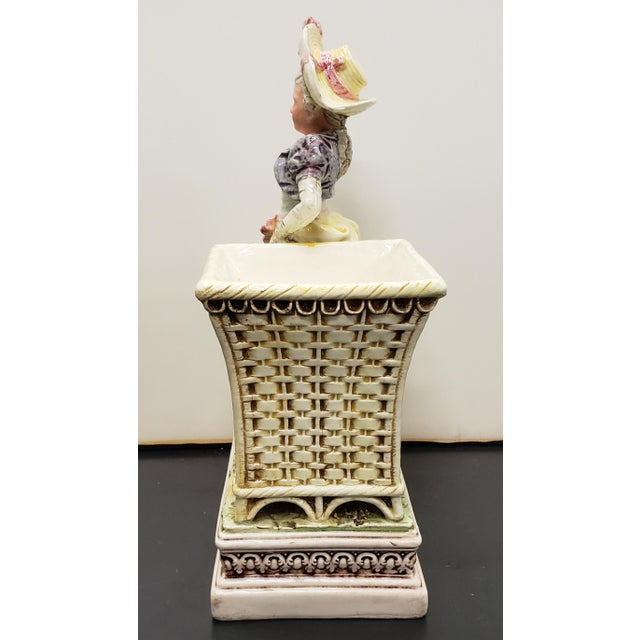Late 19th Century Late 19th Century French Majolica Porcelain Victorian Woman Matchstick Holder For Sale - Image 5 of 8