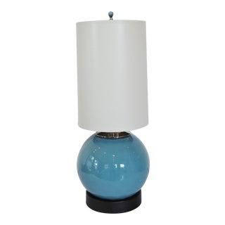 Coastal Blue Blown Glass Lamp + Shade by C. Damien Fox