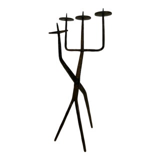 Mid 20th Century Brutalist Iron Candleabra For Sale
