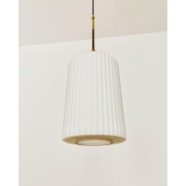Mid-Century Modern Mid-Century Modern Opaline Glass and Brass Pendant Lamp For Sale - Image 3 of 11