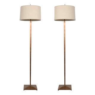 Mid-Century Modern Gilt Floor Lamps - A Pair For Sale