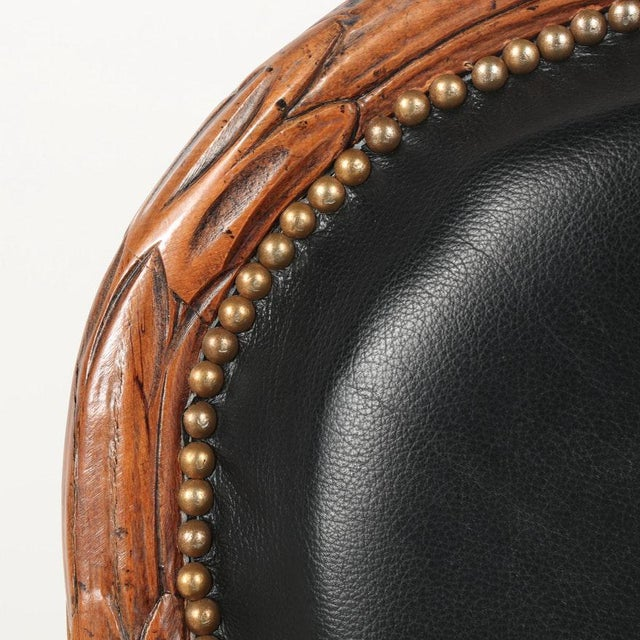 Vintage Mid Century Hand-Carved Italian Carved Wood Leather Bound Armchairs- A Pair For Sale In New York - Image 6 of 13