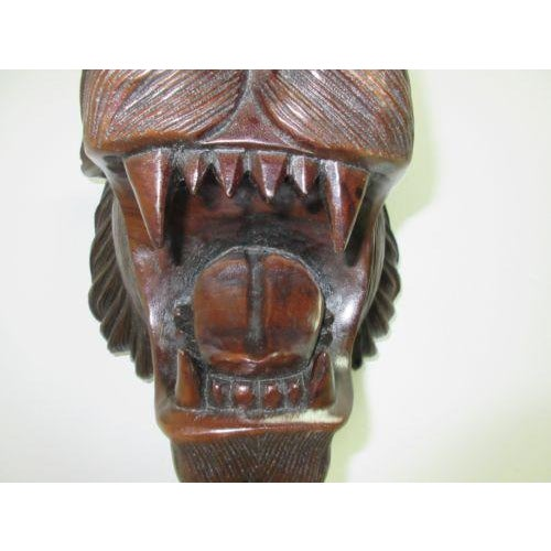 Hand Carved Mahogany Lion Tiger Head Wall Mount - Image 7 of 8
