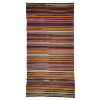 "1960s Turkish Flat Weave Floor Kilim Rug - 5'1"" X 10'"