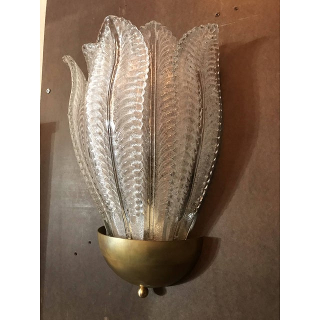 1960s Two Pairs of Barovier E Toso Murano Glass Leafy Sconces For Sale - Image 5 of 10