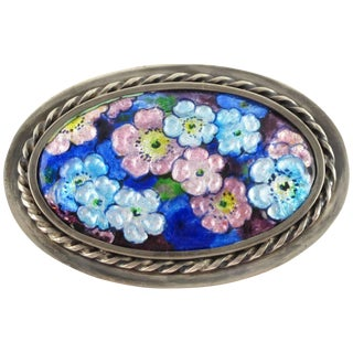 Camille Faure Limoges France Enamel on Copper Floral Brooch Pin For Sale