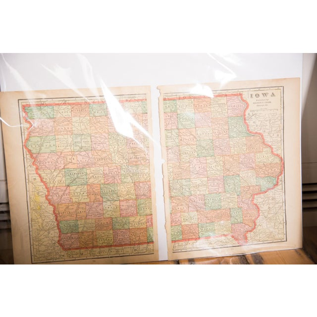 """From Cram's Unrivaled Atlas of the World 1907 Edition, a map of Iowa that measures 23.5"""" x 14.5"""". Page Numbers of original..."""
