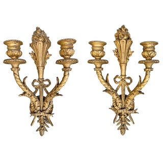 19th Century French Gilt Wood Sconces - a Pair For Sale
