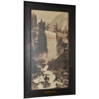 19th C. Carleton Watkins Yosemite Vernal Falls & Mt Broderick Photograph C.1890s For Sale