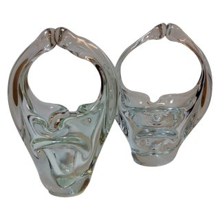 Murano Blown Crystal Baskets - A Pair For Sale