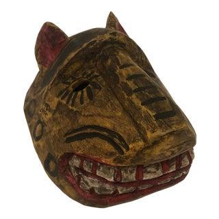 Vintage Hand Carved Painted Jaguar Mask For Sale