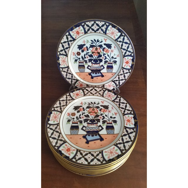 Blue 1936 Royal Crown Derby for Tiffany Imari Luncheon Plates - Set of 10 For Sale - Image 8 of 8