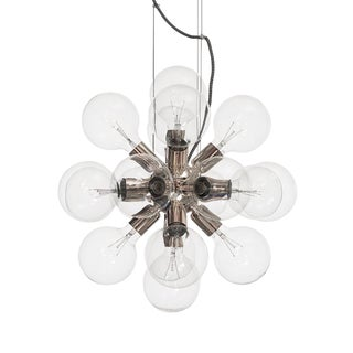 Modern Glass Chandelier in nickel plated brass with 18 clear halogen bulbs (width 52cm/21 inches)