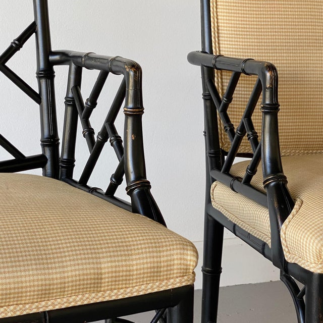 Mid 20th Century Faux Bamboo Regency Armchairs - a Pair For Sale In West Palm - Image 6 of 9