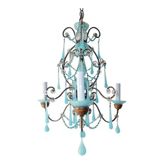 1900s Aqua Blue Murano Opaline Drops Beads Bobeches Chandelier For Sale