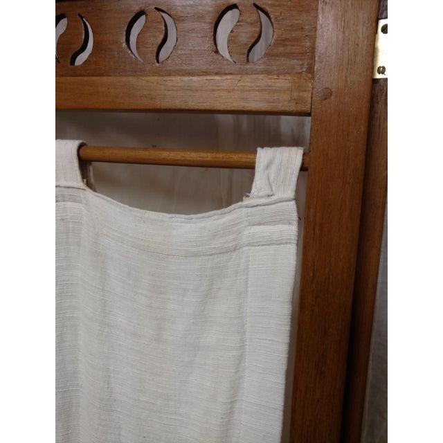 Vintage Carved Wood Room Screen Linen Panels For Sale In Sacramento - Image 6 of 12
