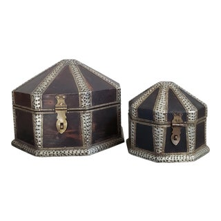 Moroccan Octagonal Wood Boxes, Set of 2 For Sale
