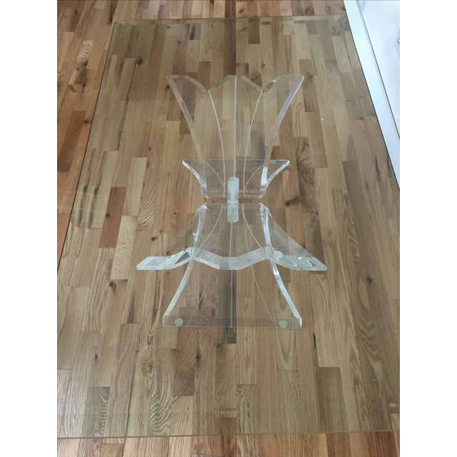 Glass Lucite Butterfly Base Coffee Table - Image 3 of 5