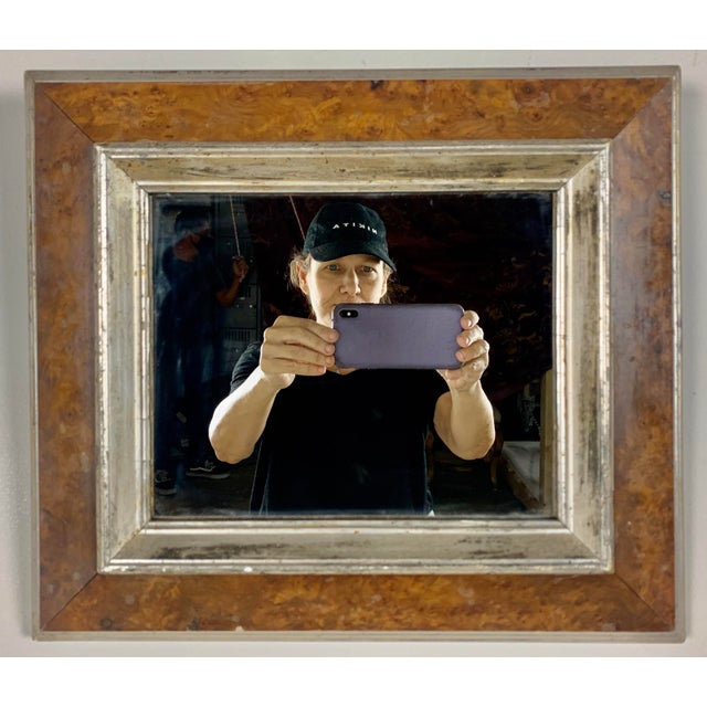 English bird's-eye maple wood picture frame with mirror inset. A great accessory for a small bookshelf or hung on a wall...