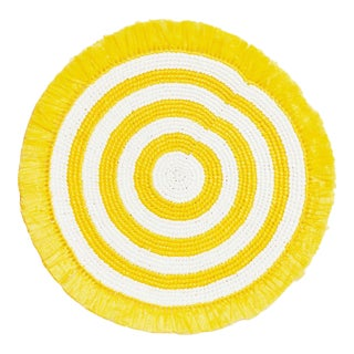 Yellow & White Woven Fringe Placemat