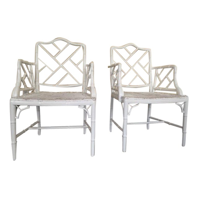 Chippendale Faux Bamboo Chairs - A Pair - Image 1 of 6