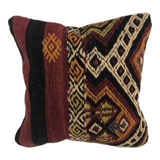 Turkish Anatolian Decorative Natural Kilim Pillow For Sale
