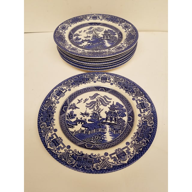 Vintage English Blue Willow Dinner Plates - Set of 8 For Sale - Image 4 of 4