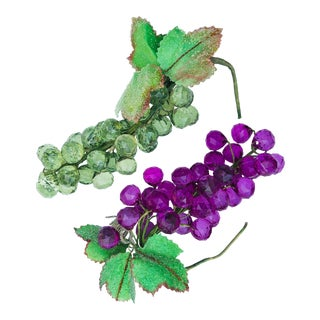 Acrylic Faceted Faux Grape Bunches - a Pair