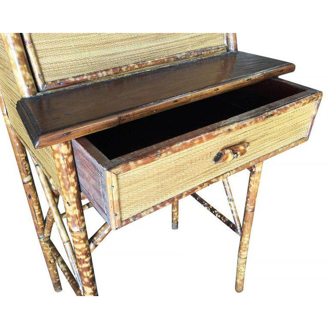 Tan Restored Tiger Bamboo Secretary Desk With Ricemat Covering For Sale - Image 8 of 9