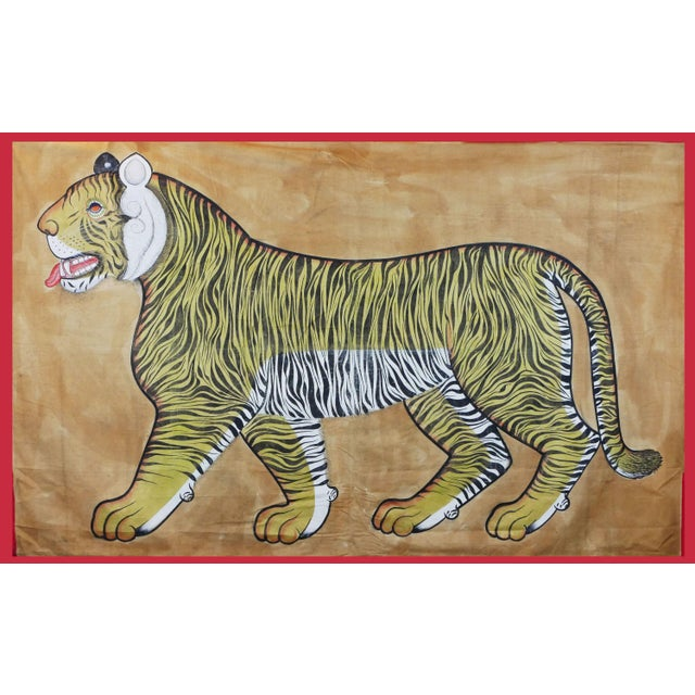 Canary Yellow Vintage Large East Asian Tiger Tapestry Rug For Sale - Image 8 of 8