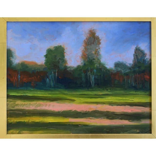 Vibrant California plein air impressionist landscape oil painting on board. Unsigned. Displayed in a new gold gilt/leaf...