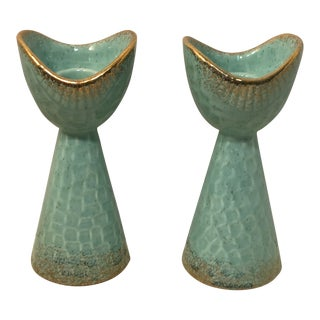 1950s Mid-Century Modern Rosenthal Netter Teal Green Candle Holders - a Pair For Sale