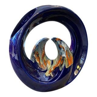 Rare Modernist Ceramic Italian Waves Vase by Roberto Rigon, Circa 1970 For Sale