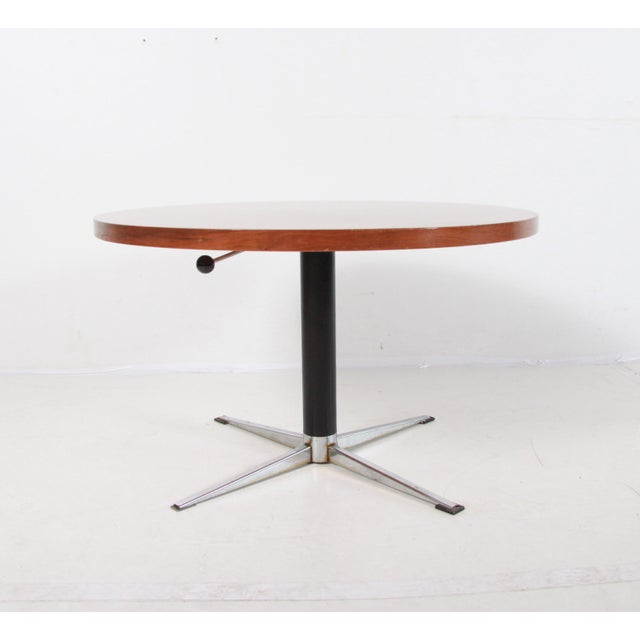 Mid Century Modern Adjustable Height, Adjustable Height Round Glass Top Coffee Table With 4 Storage Ottomans