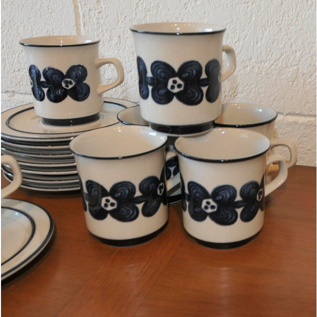 Mid-Century Design Four Cobalt Mugs & Saucers - 10 - Image 8 of 9