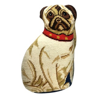 Handmade Complete Wool Needlepoint Pug Dog Accent Pillow For Sale