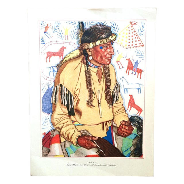 1940s Blackfoot Native American Print by Winold Reiss - Image 1 of 5