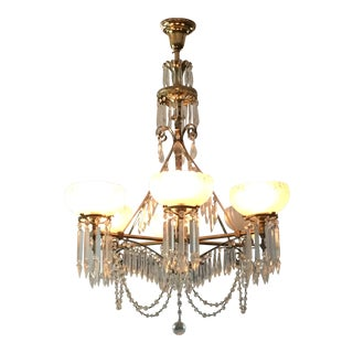 Antique Brass & Crystal Chandelier