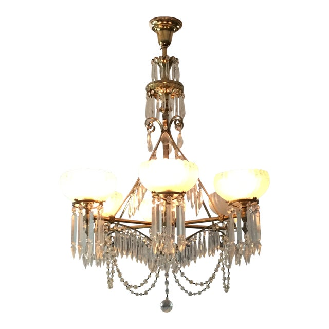 Antique Brass & Crystal Chandelier For Sale
