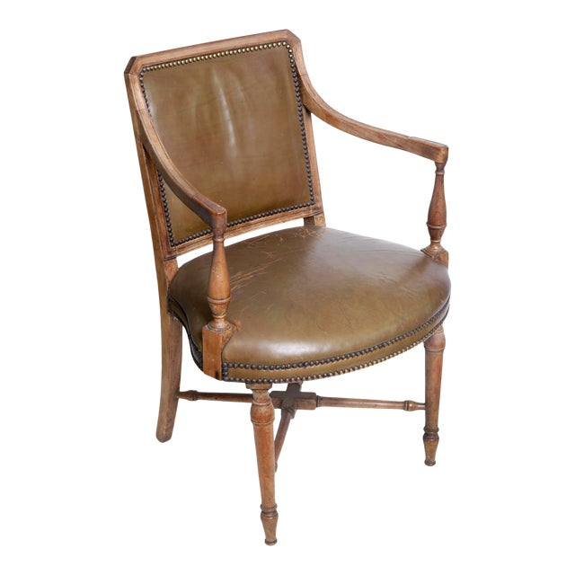 Vintage Leather Arm Chair by Baker For Sale