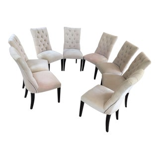 Contemporary Restoration Hardware Eggshell Velvet Dining Chairs - Set of 8 For Sale