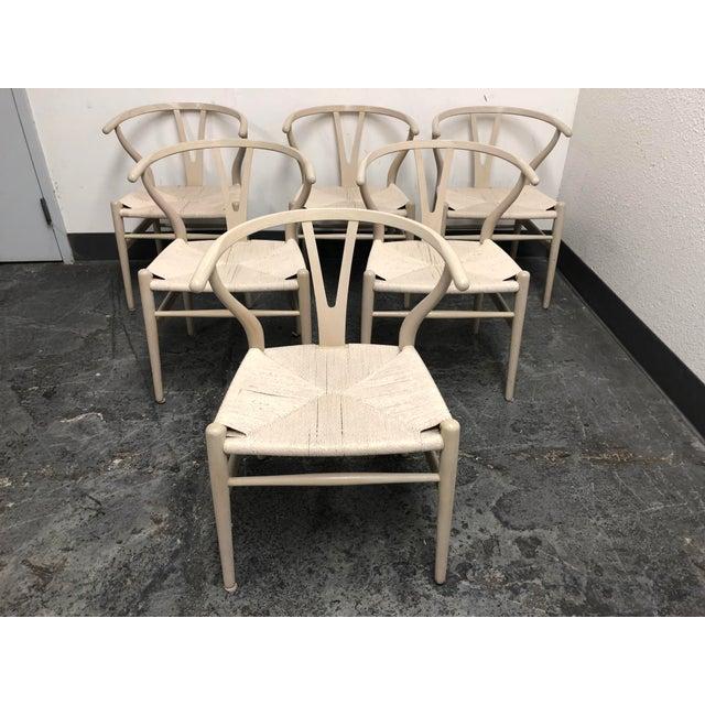 Mid-Century Modern Set of Six Mid-Century Hans Wegner Wishbone Chairs For Sale - Image 3 of 12