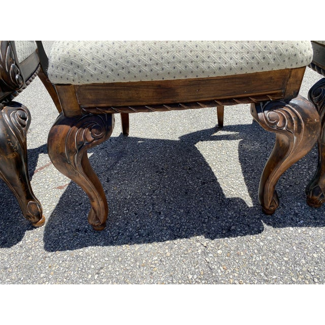 Vintage Curved Carved Wood Chairs Set of 4 For Sale - Image 4 of 9