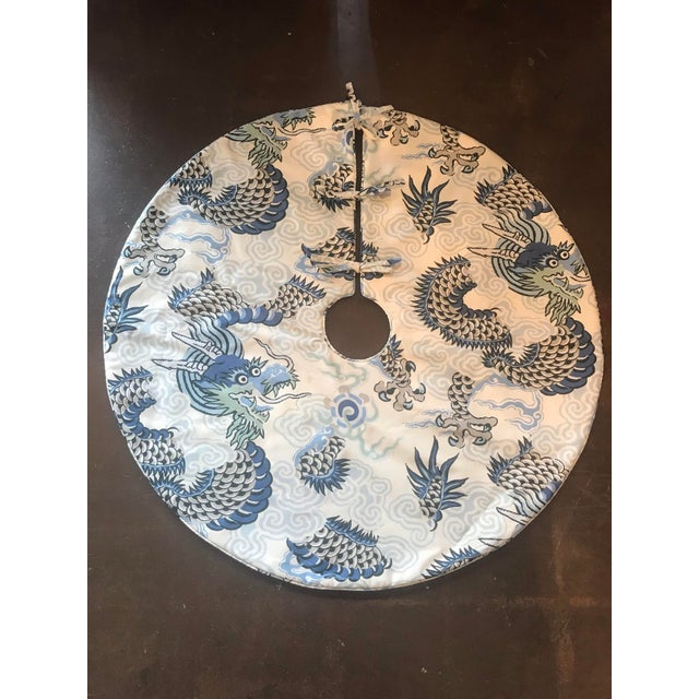 Boho Chic Blue and Grey Dragon Patterned Christmas Tree Skirt For Sale - Image 3 of 3