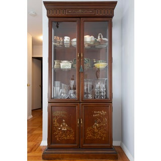 1980s Chinoiserie Jasper Cabinet Hand Paint Decorated 4 Door Lighted Curio Cabinet Preview