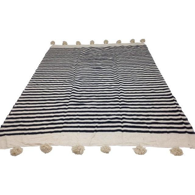 Make & Model Moroccan Striped Pom Pom Blanket - Image 1 of 3