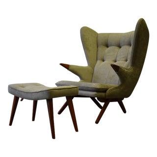 Mid Century Modern Teak Papa Bear Styled Lounge Chair + Ottoman