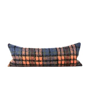 Orange Blue Mohair Wool Lumbar Pillow