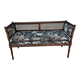 1960s Mid-Century Faux Bamboo & Tapestry Loveseat For Sale