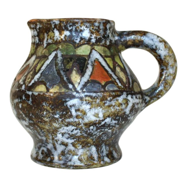 Enamel Glazed Polychrome Stoneware Pitcher For Sale